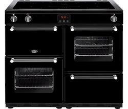 BELLING Kensington 100Ei Electric Induction Range Cooker - Black & Chrome Best Price, Cheapest Prices
