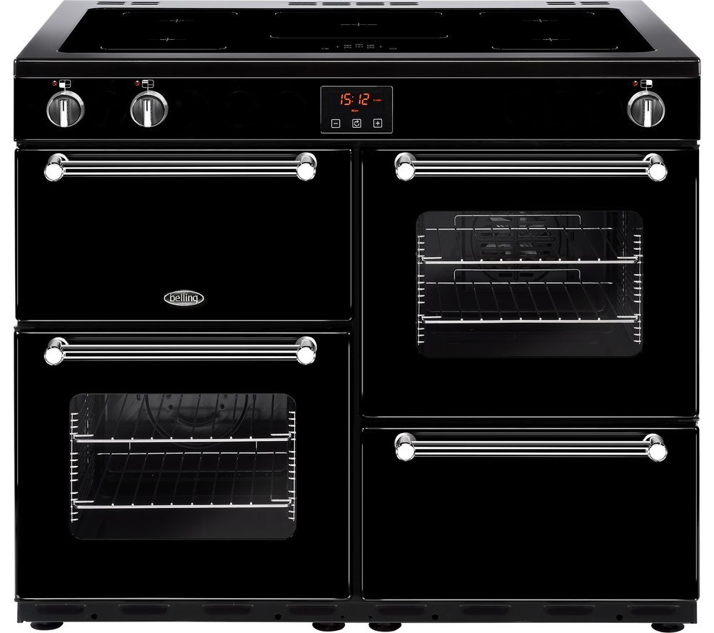 BELLING Kensington 100Ei Electric Induction Range Cooker - Black & Chrome