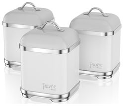 Fearne by Swan SWKA1025TEN Square 1.5 litre Storage Canisters - Truffle, Set of 3