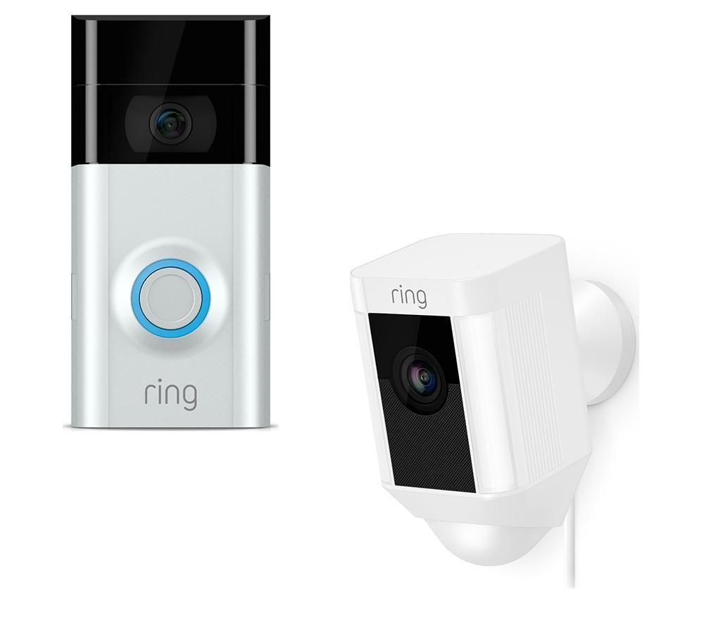 RING LIGHT Spotlight Cam & Video Doorbell 2 Bundle - White & Silver