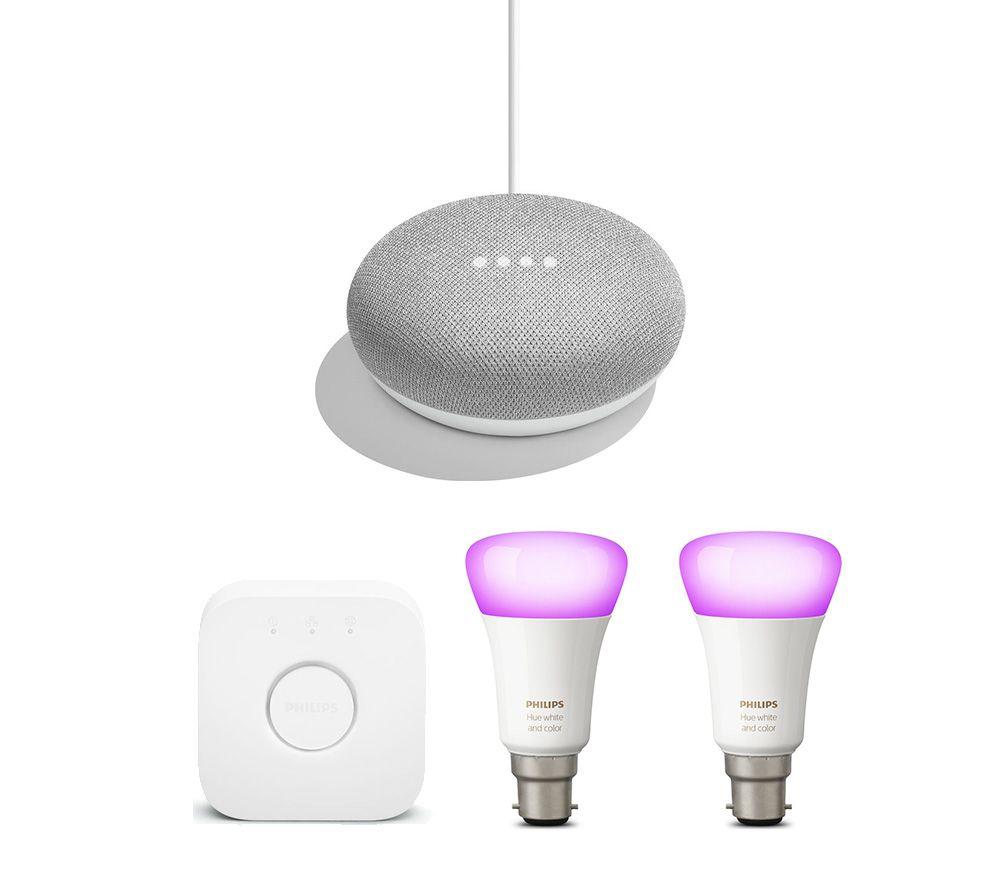 PHILIPS Hue White and Colour Ambiance Mini Smart Bulb B22 Starter Kit & Google Home Mini Chalk Bundle
