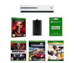 MICROSOFT Xbox One 1 TB, Tekken 7, Mafia III, Overwatch, Project Cars 2, LIVE Gold Membership & Charging Kit Bundle