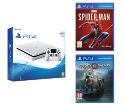 SONY PlayStation 4 White, Marvel's Spider-Man & God Of War Bundle - 500 GB