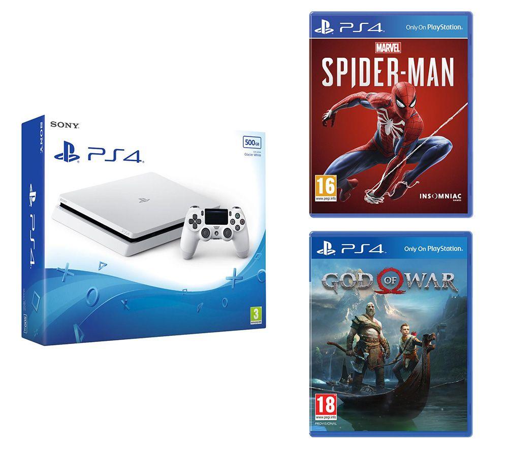 SONY PlayStation 4 White, Marvels Spider-Man & God Of War Bundle - 500 GB, White
