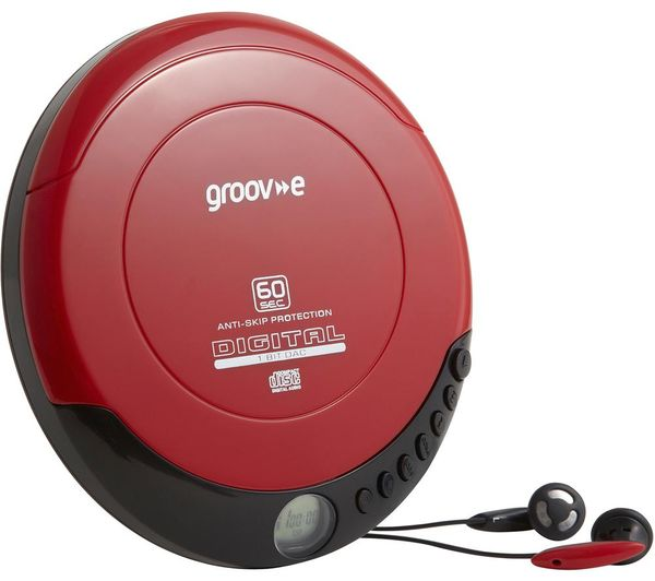 Image of GROOV-E Retro GV-PS110-RD Personal CD Player - Red, Red