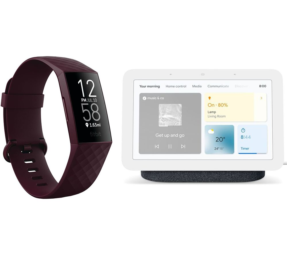FITBIT Charge 4 Fitness Tracker & Nest Hub (2nd Gen) Smart Display Bundle - Rosewood & Charcoal