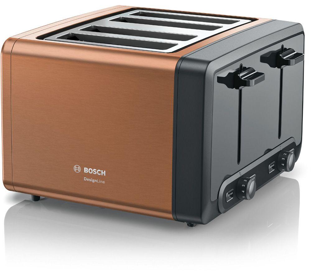 BOSCH DesignLine Plus TAT4P449GB 4-Slice Toaster - Copper