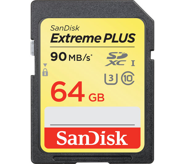 Image of SANDISK Extreme Plus Class 10 SDXC Memory Card - 64 GB