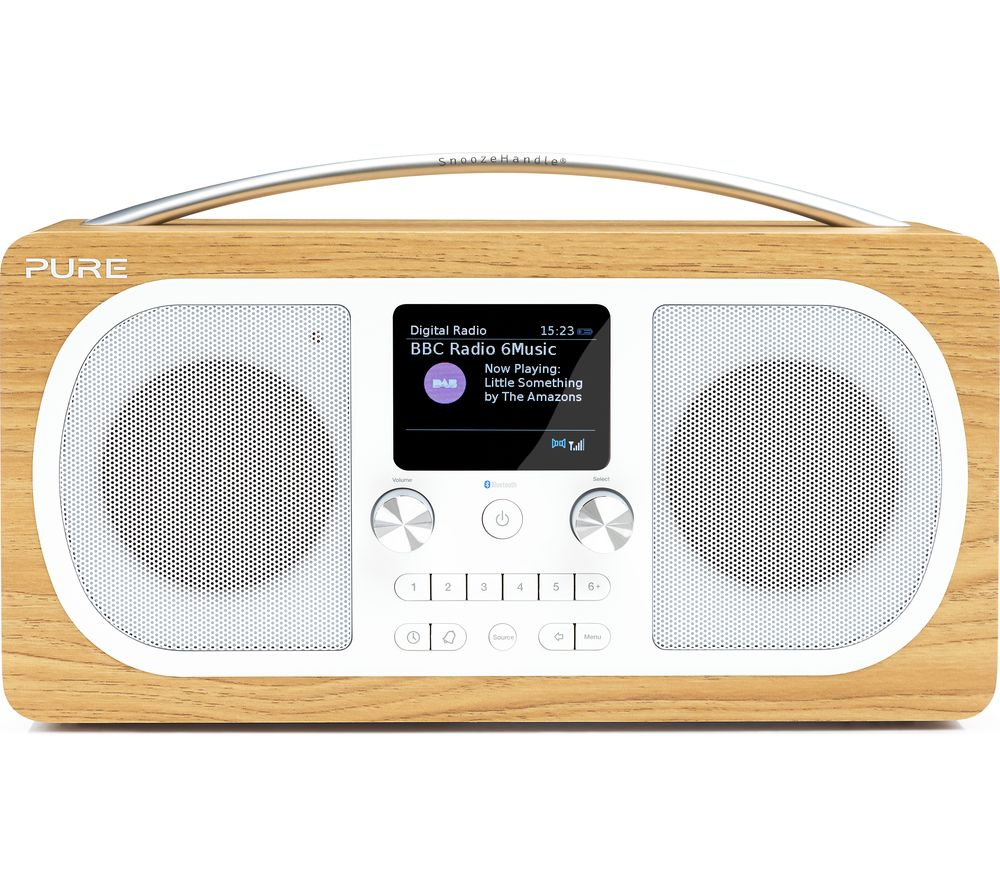 Compare retail prices of Pure Evoke H6 Portable DAB Bluetooth Clock Radio - Oak to get the best deal online
