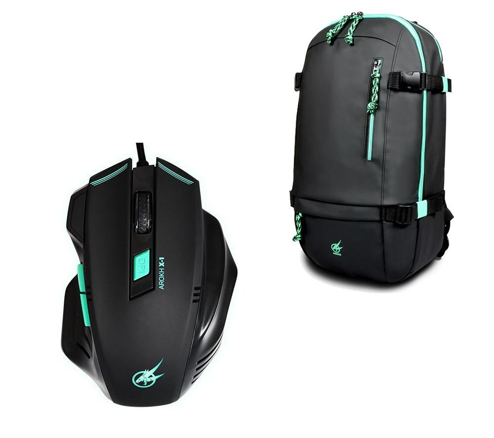 "PORT DESIGNS Arokh X-1 Optical Mouse & BP-1 15.6"" Laptop Backpack Gaming Pack"