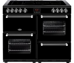 BELLING Kensington 100E Electric Ceramic Range Cooker - Black & Chrome