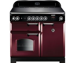 RANGEMASTER Classic 100 cm Electric Induction Range Cooker - Cranberry & Chrome