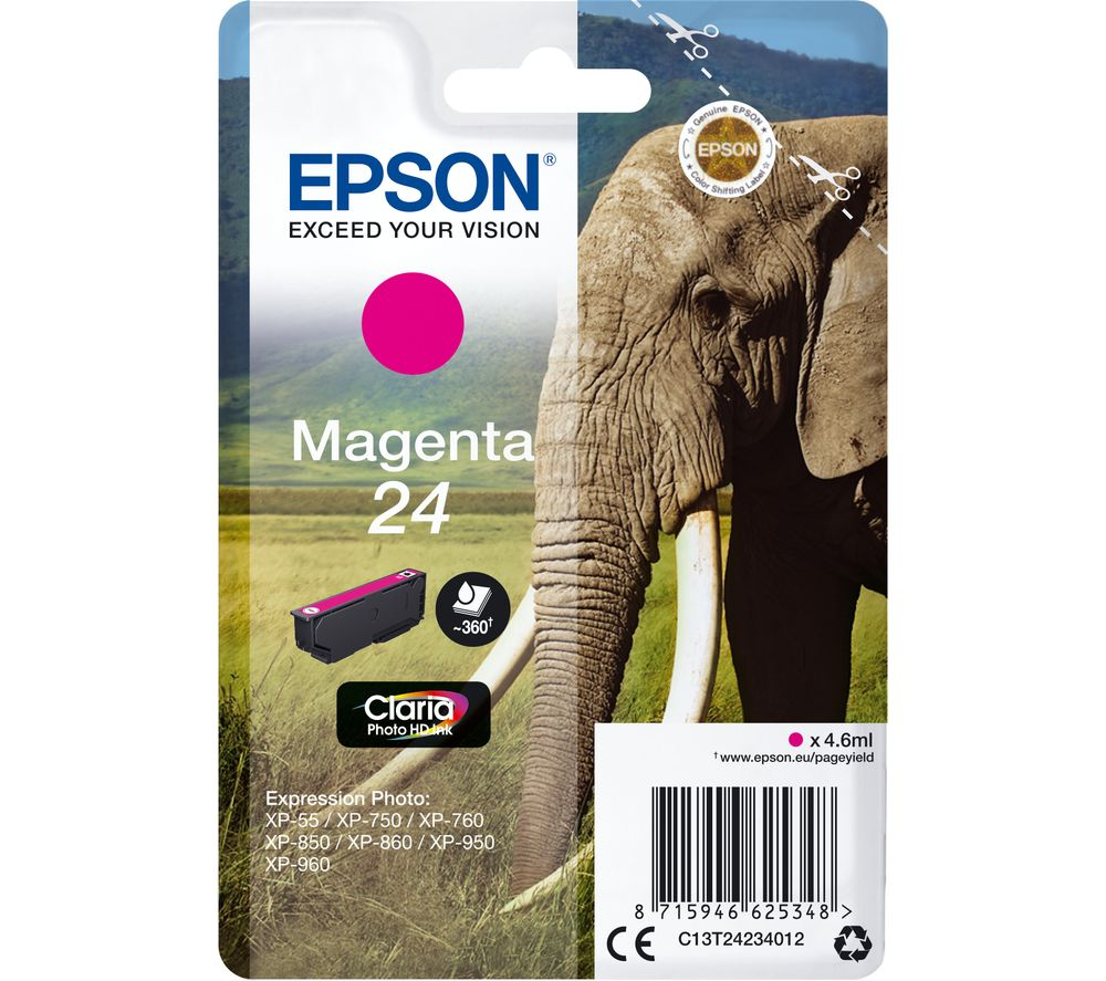 EPSON 24 Elephant Magenta Ink Cartridge, Magenta