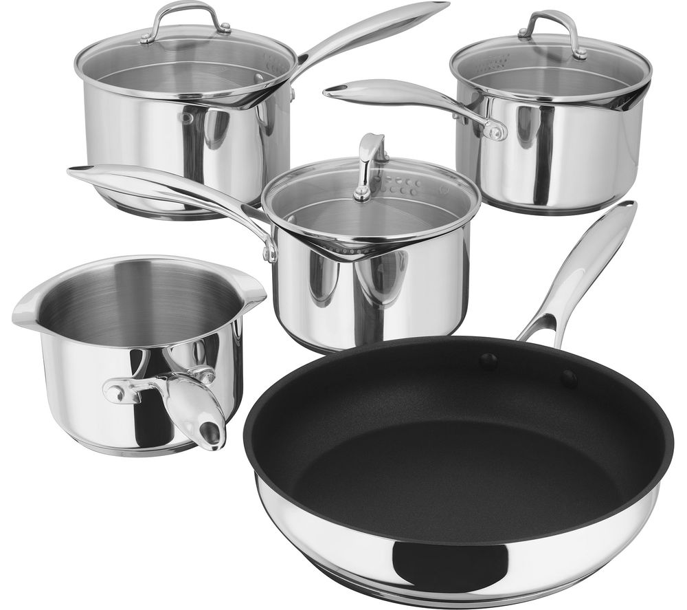 Image of STELLAR PP374 7000 5-piece Cookware Set - Stainless Steel, Stainless Steel