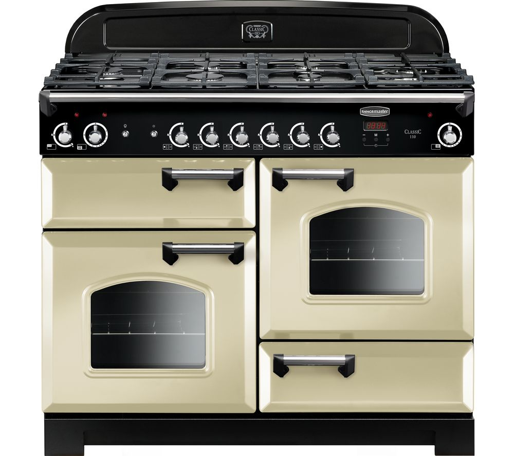 RANGEMASTER Classic 110 cm Gas Range Cooker - Cream & Chrome