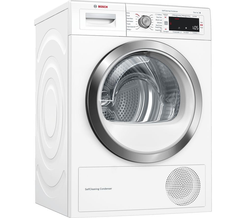 BOSCH Serie 8 WTW87561GB 9 kg Condenser Tumble Dryer - White