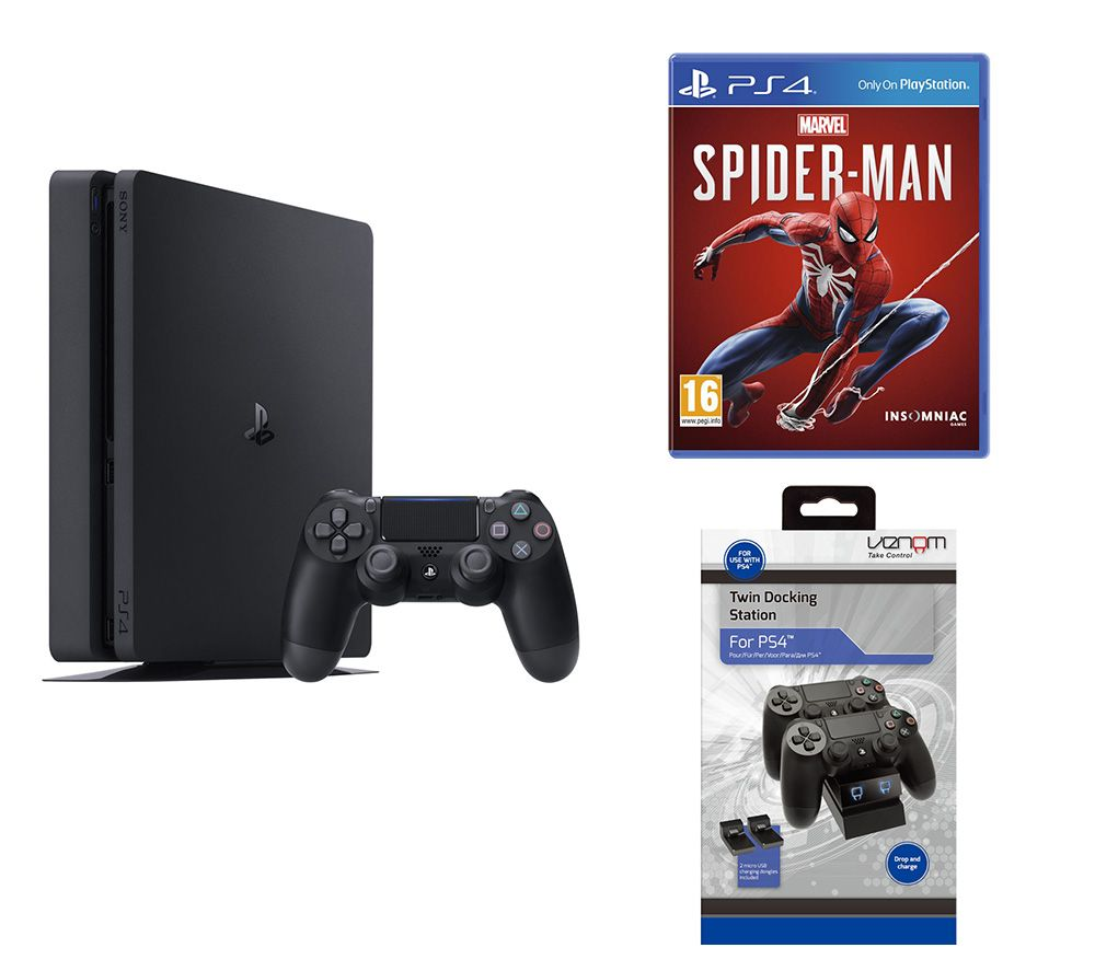 SONY PlayStation 4, Marvels Spider-Man & Twin Docking Station Bundle - 500 GB, Red