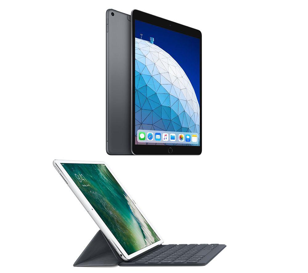 "Image of 10.5"" iPad Air Cellular 64 GB Space Grey & 10.5"" iPad Smart Keyboard Folio Case Bundle, Grey"