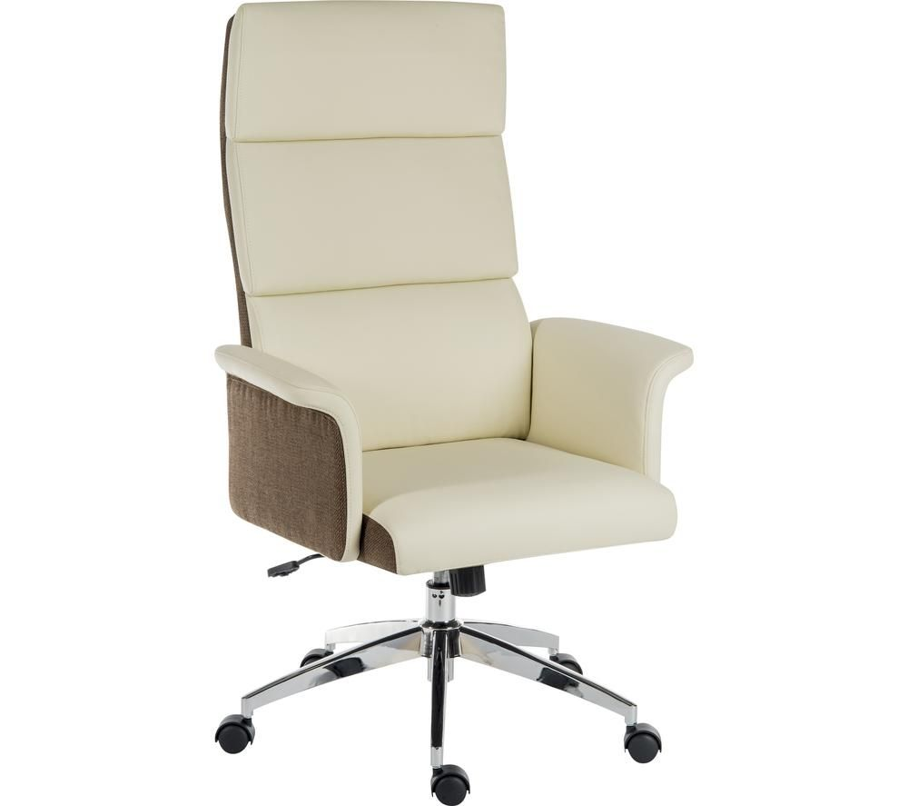 TEKNIK Elegance High Faux-Leather Executive Chair - Cream & Brown