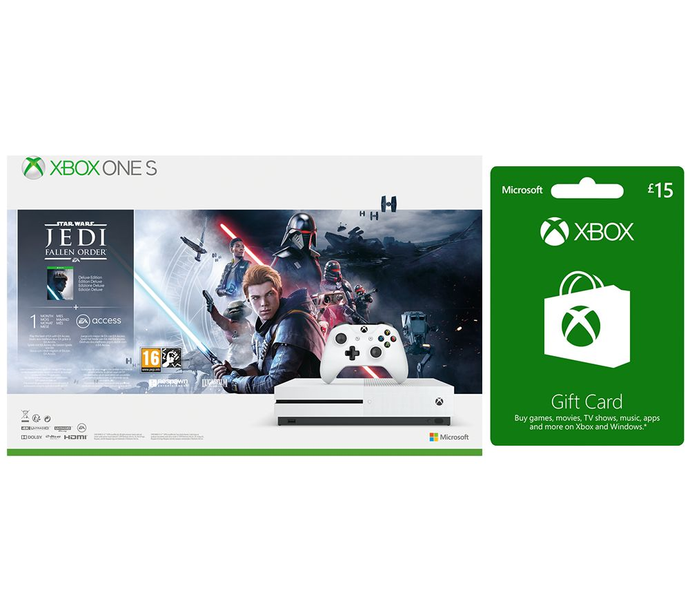 Image of MICROSOFT Xbox One S with Star Wars Jedi: Fallen Order Deluxe Edition & £15 Xbox Live Gift Card Bundle - 1 TB