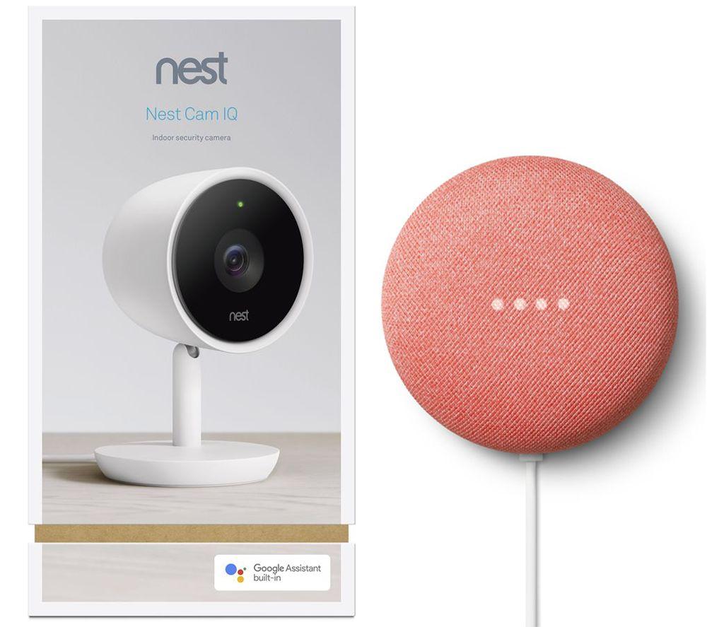 Image of GOOGLE Nest Cam IQ Indoor Security Camera & Nest Mini (2nd Gen) Bundle, Black
