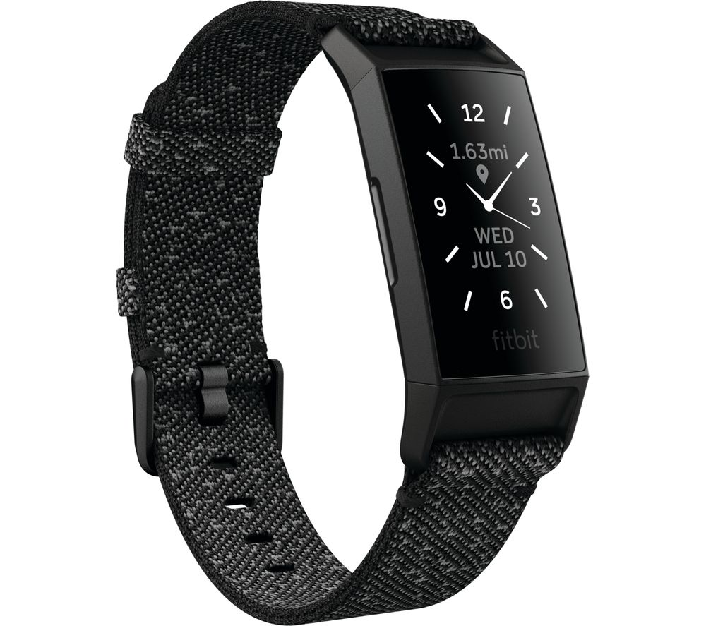 FITBIT Charge 4 Fitness Tracker - Granite Black, Universal, Black