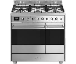SMEG C92GPX9 90 cm Dual Fuel Range Cooker - Stainless Steel Best Price, Cheapest Prices