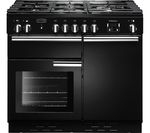 RANGEMASTER Professional+ Dual Fuel Range Cooker - Black & Chrome