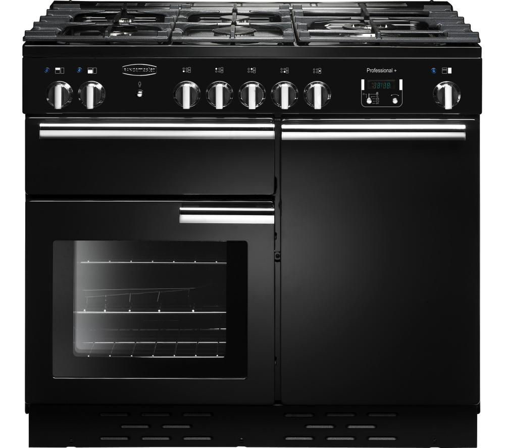 RANGEMASTER Professional+ Dual Fuel Range Cooker - Black & Chrome