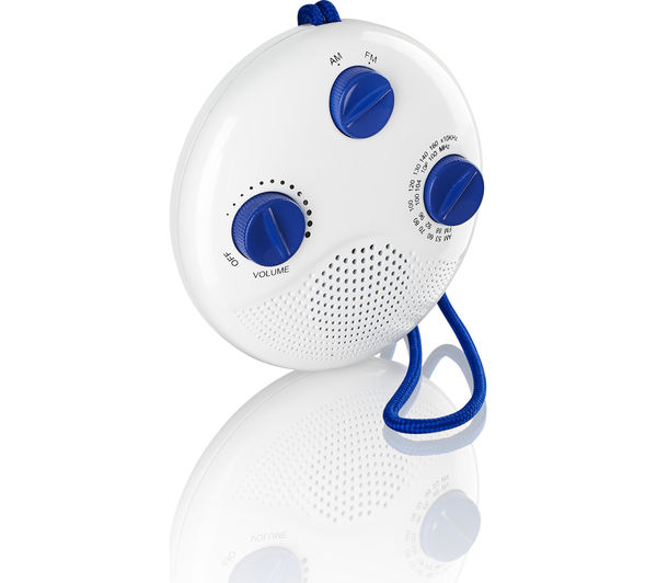 logik lsr16 portable fmam bathroom radio white blue - Bathroom Radio