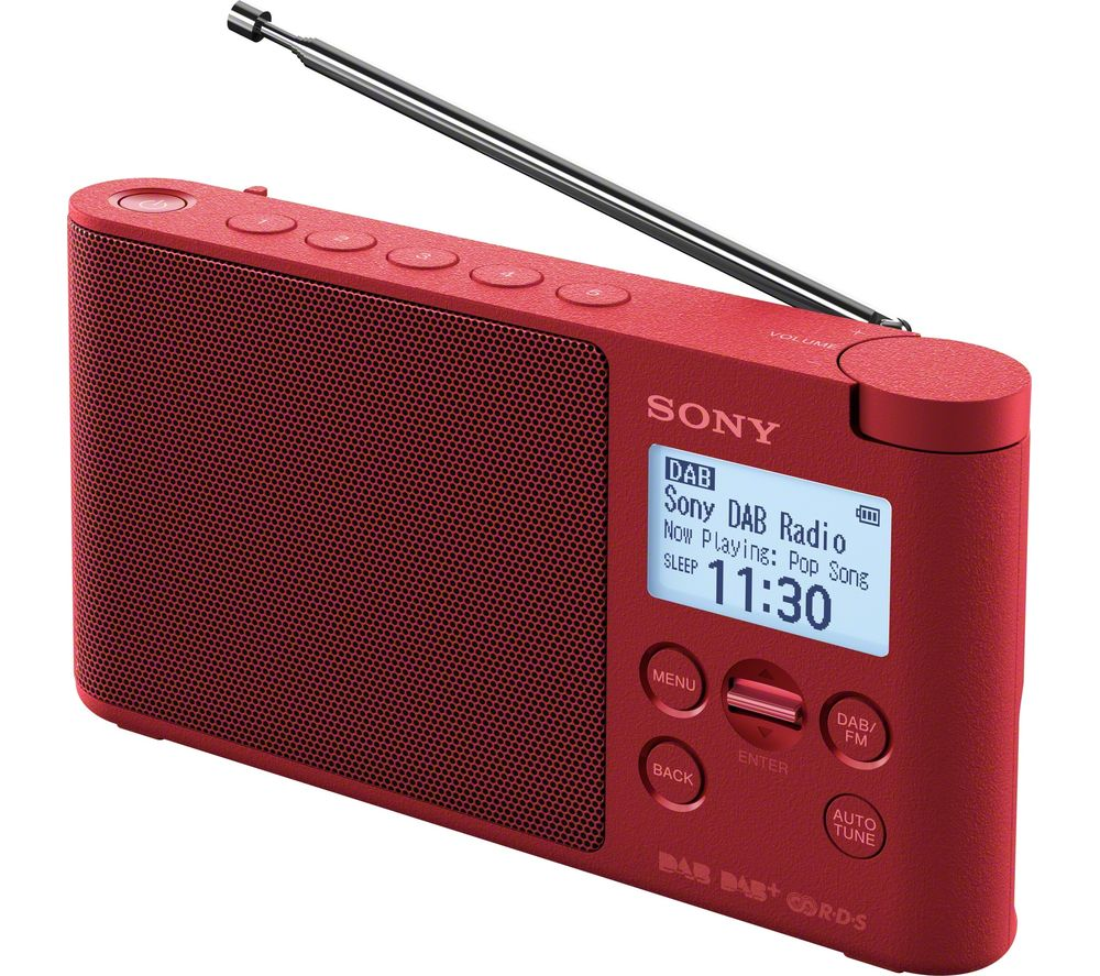 SONY XDR-S41D Portable DAB+/FM Clock Radio - Red