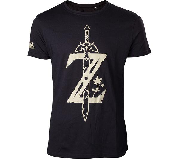 NINTENDO Zelda Breath of the Wild Logo T-Shirt - Large, Black