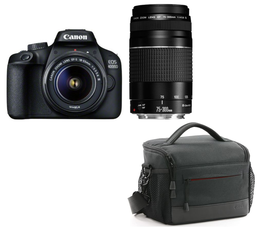 CANON EOS 4000D DSLR Camera, EF-S 18-55 mm f/3.5-5.6, EF 75-300 mm f/4-5.6 & Bag Bundle