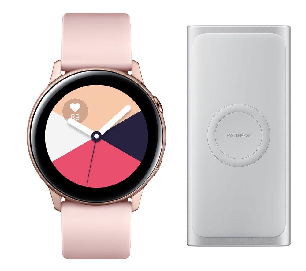 SAMSUNG Galaxy Watch Active & Wireless Power Bank Bundle - Rose Gold