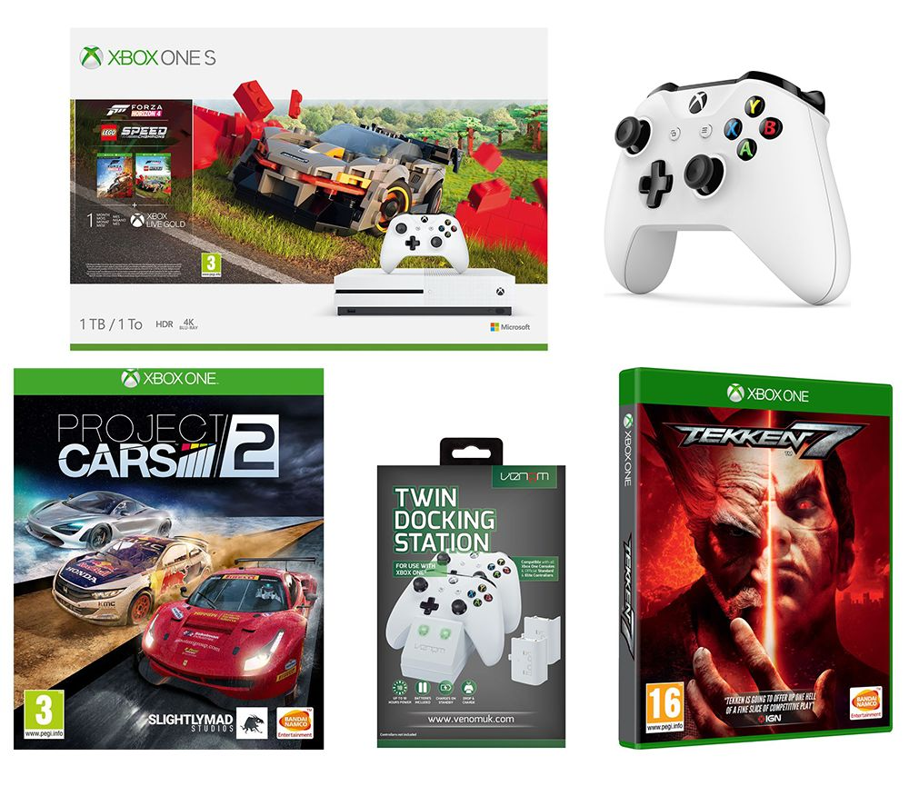 MICROSOFT Xbox One S, Forza Horizon 4, LEGO Speed Champions, Tekken 7, Project Cars 2, Wireless Controller & Docking Station Bundle