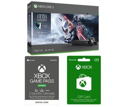 MICROSOFT Xbox One X with Star Wars Jedi: Fallen Order Deluxe Edition, £25 Xbox Live Gift Card & 3 Months Xbox One Game Pass Ultimate Bundle