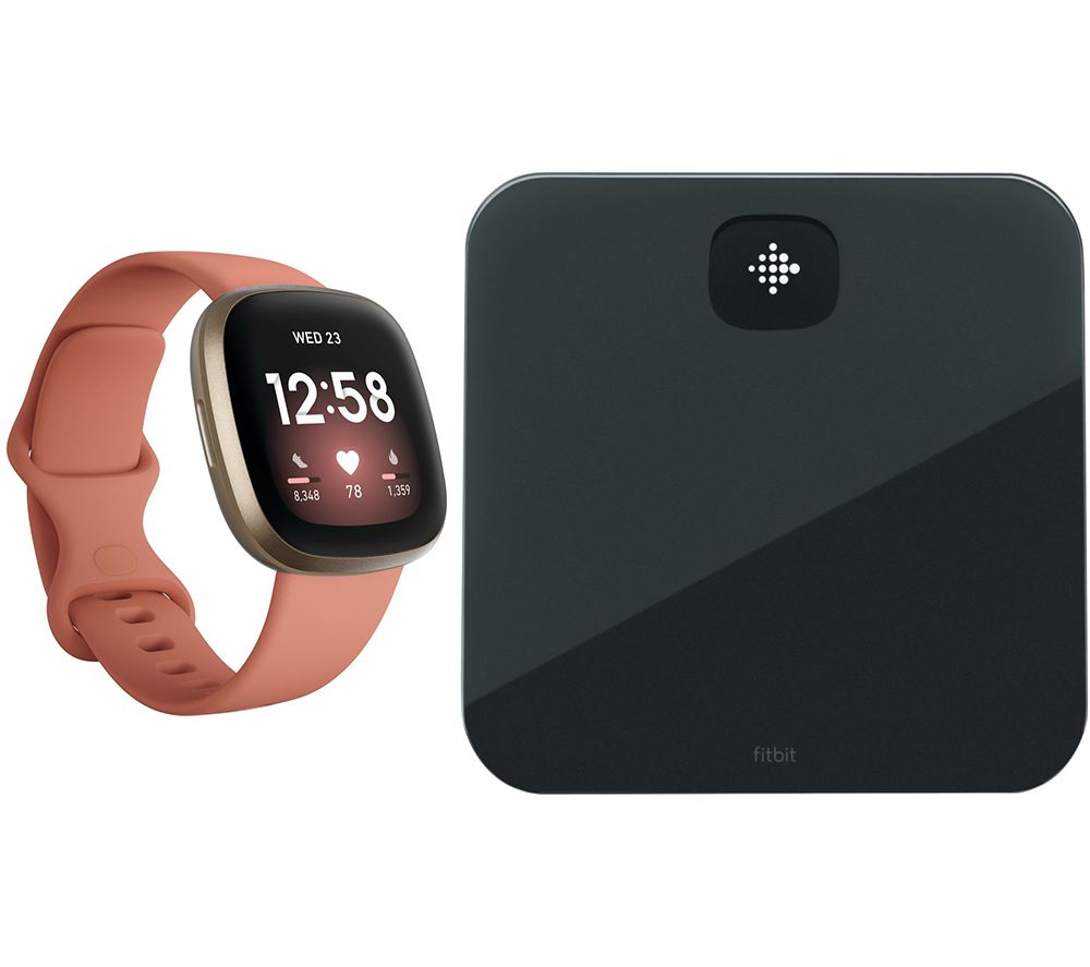 FITBIT Versa 3 & Aria Air Smart Scale Bundle - Pink Clay & Soft Gold, Pink