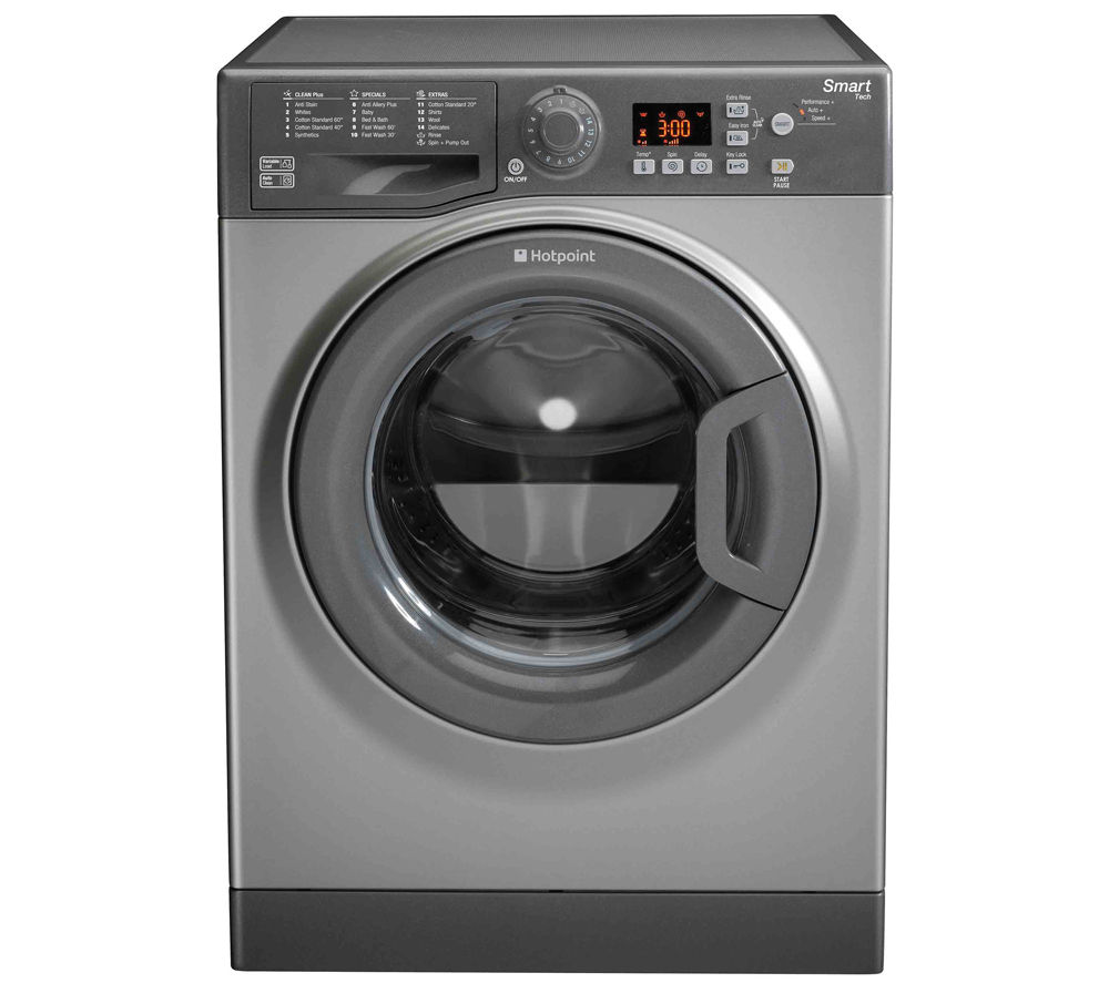 HOTPOINT WMFUG742G Smart Washing Machine - Graphite + Aquarius TVM570P Vented Tumble Dryer - White