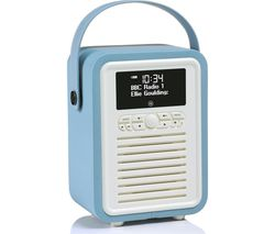 VQ Retro Mini Portable DAB+/FM Bluetooth Clock Radio - Blue