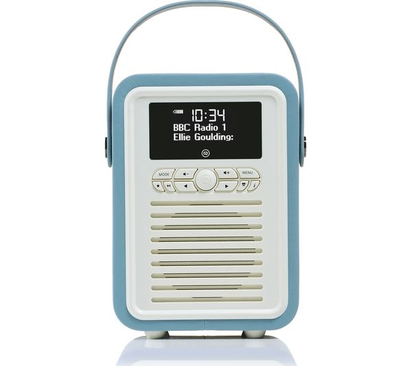 buy vq retro mini portable dab fm bluetooth clock radio blue free delivery currys. Black Bedroom Furniture Sets. Home Design Ideas