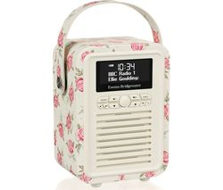 VQ Retro Mini DAB+/FM Portable Bluetooth Clock Radio - Emma Bridgewater Rose & Bee