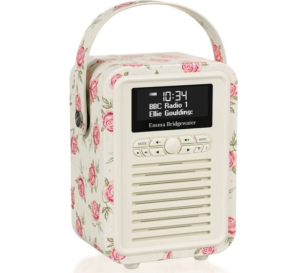 Image of VQ Retro Mini DAB+/FM Portable Bluetooth Clock Radio - Emma Bridgewater Rose & Bee