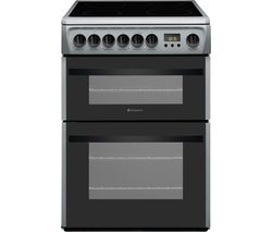 HOTPOINT Newstyle DCN60S 60 cm Electric Ceramic Cooker - Silver & Black