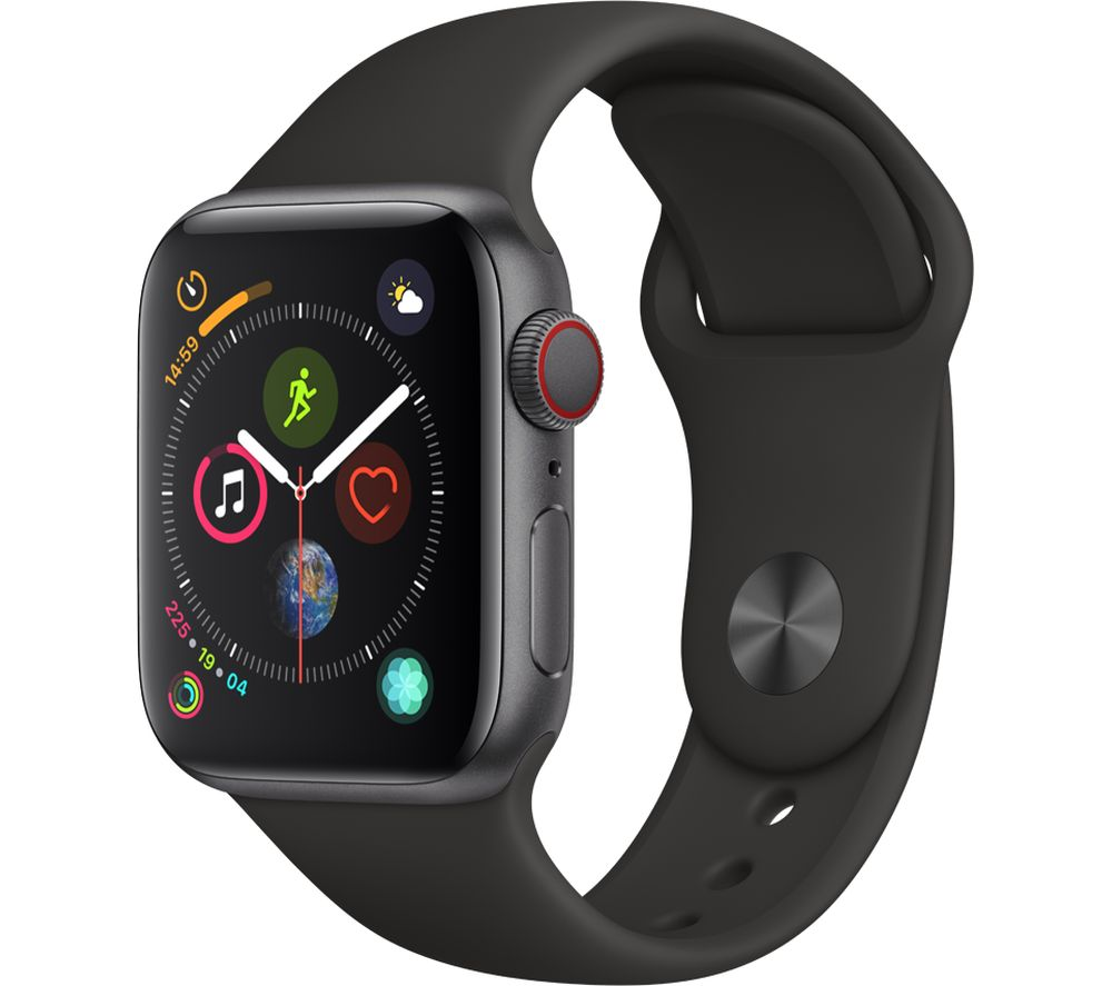 APPLE Watch Series 4 Cellular - Space Grey & Black Sports Band, 40 mm