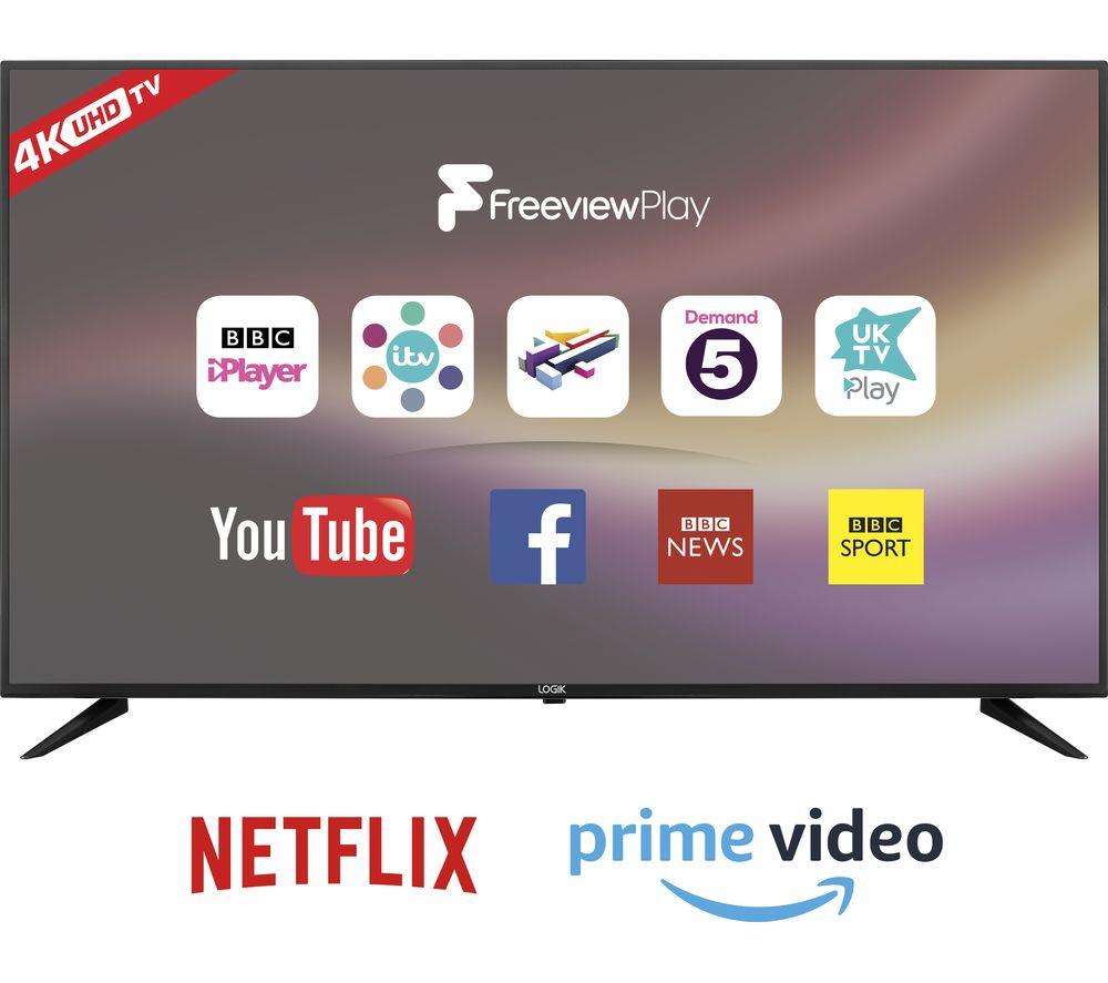 """65"""" LOGIK L65UE18  Smart 4K Ultra HD HDR LED TV - Black, Black"""
