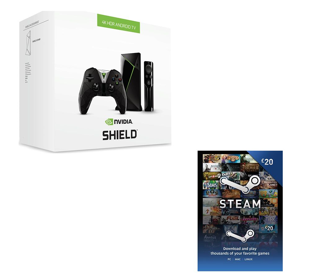 NVIDIA SHIELD 4K Media Streaming Device, Controller & £20 Steam Wallet Card Bundle - 16 GB