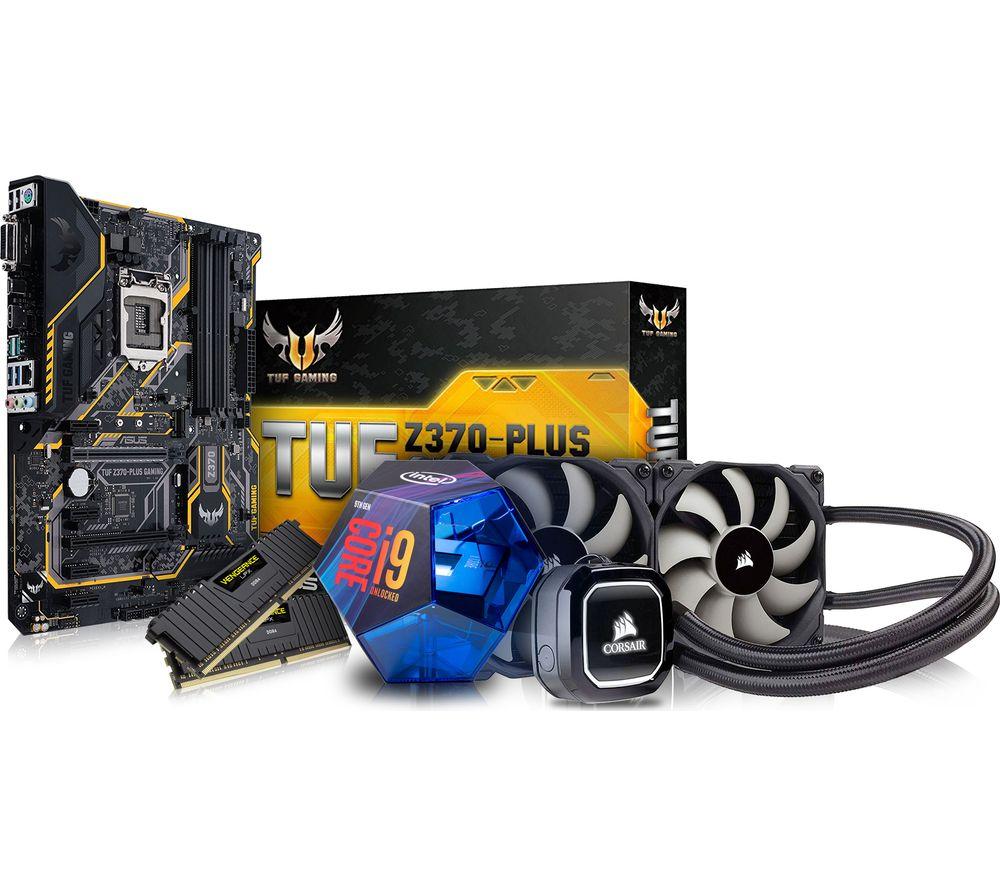 PC SPECIALIST Intel Core i9 Processor, TUF Z370-PLUS Motherboard, 16 GB RAM & Corsair Hydro Cooler Components Bundle