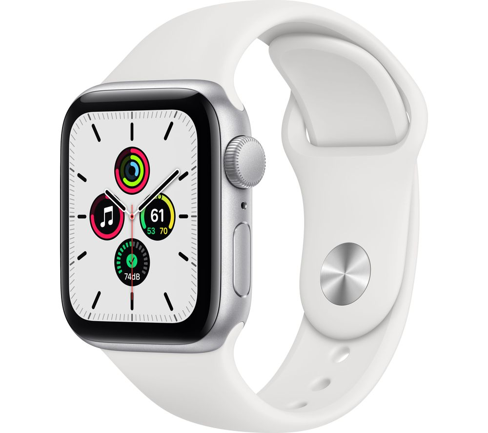 APPLE Watch SE - Silver Aluminium with White Sports Band, 40 mm