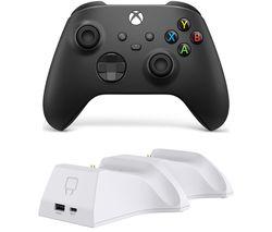 Xbox Wireless Controller & Venom Xbox Series X/S Twin Docking Station Bundle - Carbon Black