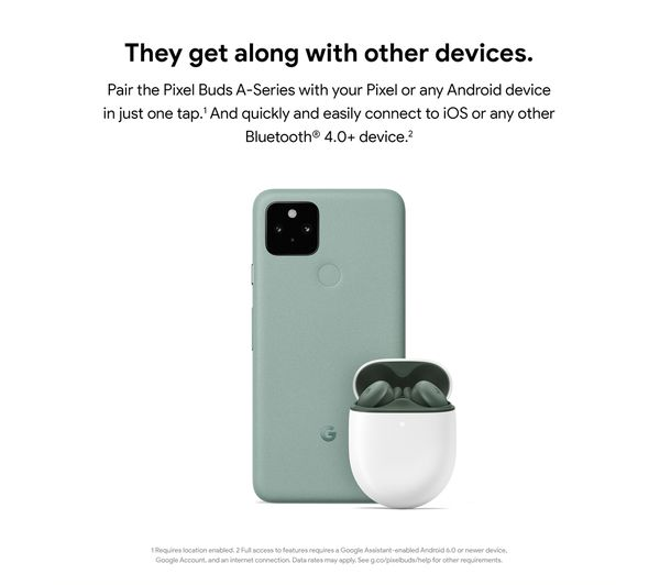 Google Pixel Buds A-Series Wireless Bluetooth Earphones - Clearly White 5